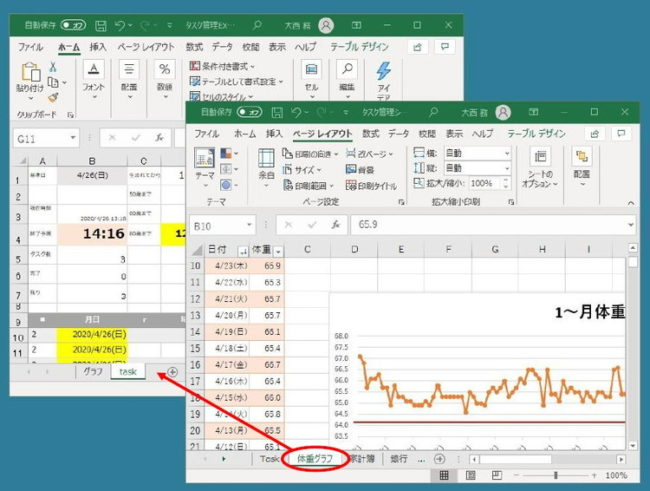 Excelのシートを移動している画像