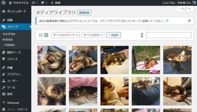 WordPressのメディアライブラリの画像