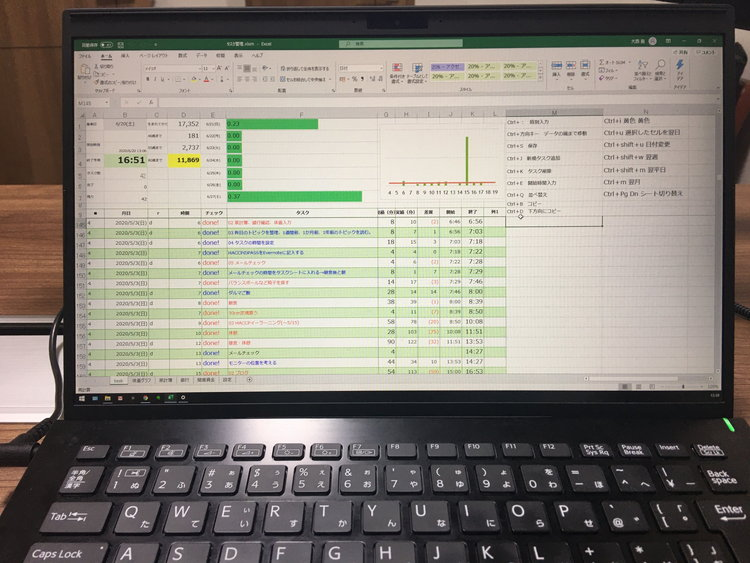 PCにタスク管理Excelシートを表示している画像